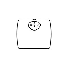 Weight scale hand drawn outline doodle icon. Dieting and health, weight measure device, kilogram concept. Vector sketch illustration for print, web, mobile and infographics on white background.