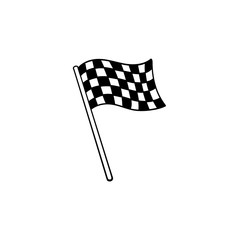 Waving racing checkered flag hand drawn outline doodle icon. Racing finish, race champion, victory concept. Vector sketch illustration for print, web, mobile and infographics on white background.