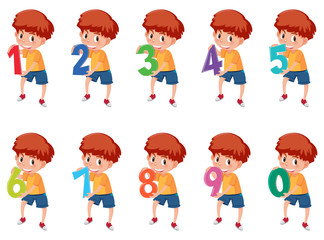 A set of boy and number