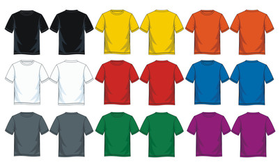 Fototapeta Colorful blank t shirt, Front look and back. obraz