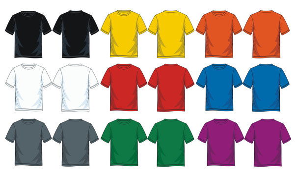 Colorful blank t shirt, Front look and back.