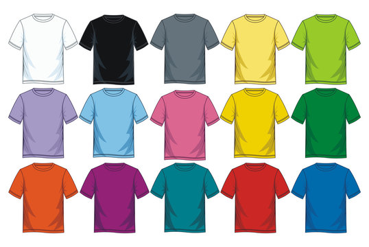 Colorful blank t shirt icon set, vector image