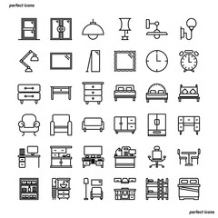 Furniture and Home Decoration Outline Icons perfect pixel.