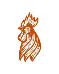 chiken head line art logo template vector illustration