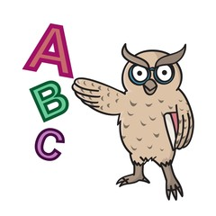 Owl kindergarten learning, school, drawing, cartoon.