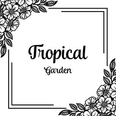 Greeting card tropical garden with floral vector illustration