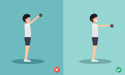 man wrong and right dumbbell front raise posture,vector illustration