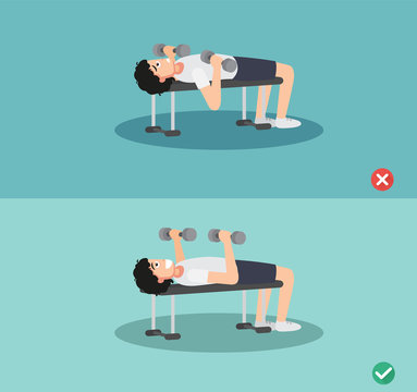 man wrong and right bench press posture,vector illustration
