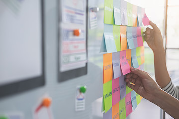 Web designer brainstorming for a strategy plan. Colorful sticky notes with things to do on office board. User experience (UX) concept. Wall mural