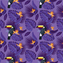 Toucan, exotic birds, tropical flowers, palm leaves, jungle leaves, bird of paradise. Tropical trendy  seamless pattern.