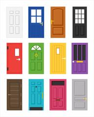 various kind of door. flat design style vector graphic illustration set