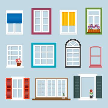 various kind of windows. flat design style vector graphic illustration set