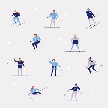 People skiing and snowboarding on the ski slopes. flat design style vector graphic illustration set