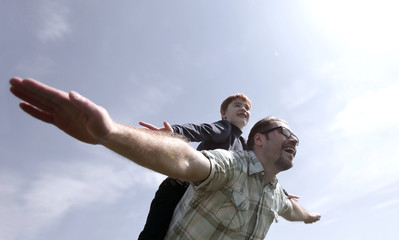 father and son spend time together