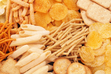Snack food, sticks, chips, crackers
