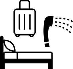 ベッド、スーツケース、シャワーのアイコン