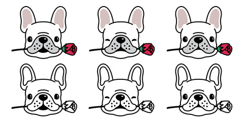 dog vector french bulldog icon logo rose flower valentine cartoon character illustration symbol doodle