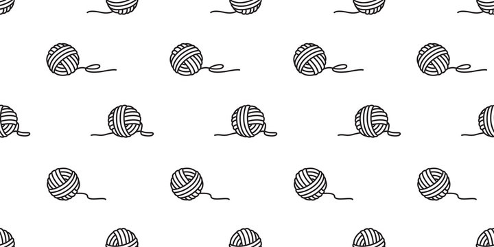 yarn ball seamless pattern vector balls of yarn knitting needles background wallpaper isolated