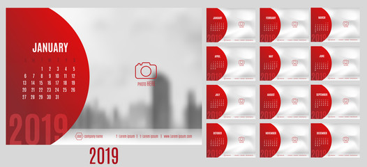 Vector of Calendar 2019 year with 12 month calendar with modern style,week start at Sunday,Template for place your photo