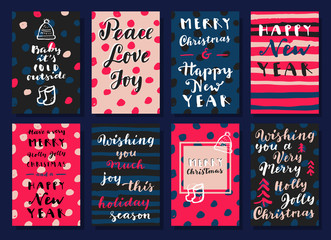 Merry Christmas and Happy New Year hand colorful drawn modern calligraphic cards in vector