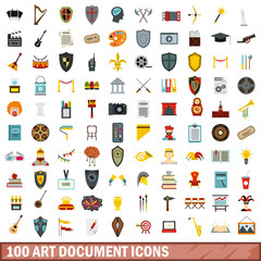 100 art document icons set in flat style for any design vector illustration