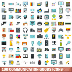 100 communication goods icons set in flat style for any design vector illustration