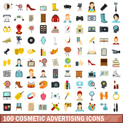 100 cosmetic advertising icons set in flat style for any design vector illustration