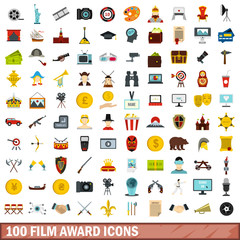 100 film award icons set in flat style for any design vector illustration