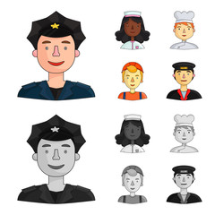 A nurse dressing gown, cook hood, builder helmet, taxi driver cap. People of different professions set collection icons in cartoon,monochrome style vector symbol stock illustration web.