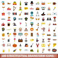 100 streetfestival brainstorm icons set in flat style for any design vector illustration