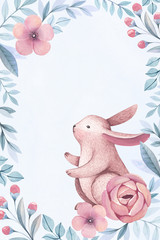 Watercolor illustrations of a bunny and flowers. Perfect for greeting cards and invitations