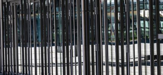 Glastüren Perspektive von der Seite