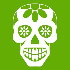Sugar skull, flowers on the skull icon white isolated on green background. Vector illustration