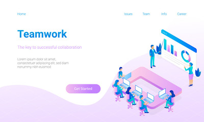 Modern flat design hero image with miniature people are working together. Concept for Teamwork. Responsive landing page.