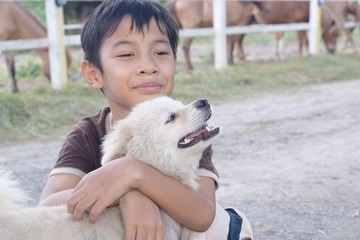 8 years old Thai asian boy hug white pomeranion puppy dog with horses farm in the background with copy space