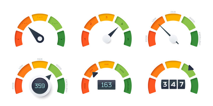 Credit Score vector gauges. 6 different design templates. Different arrow position and information display.