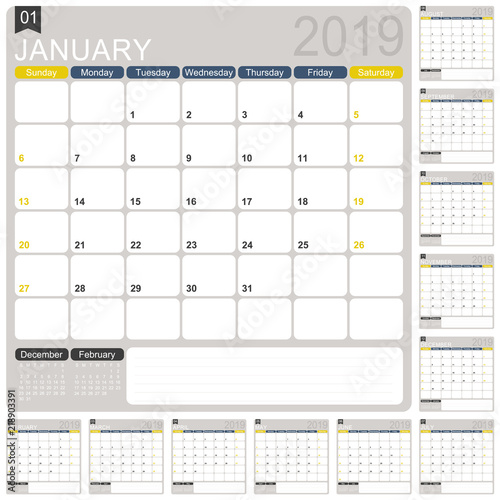 English Calendar 2019 English Calendar Template For Year 2019 Set