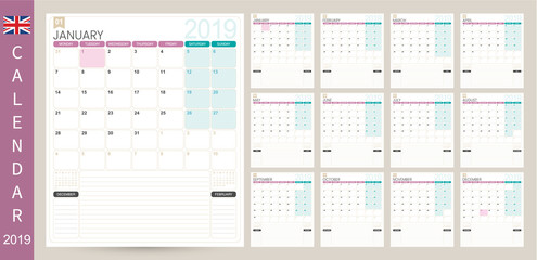 English calendar 2019 / English calendar planner 2019, week starts on Monday, set of 12 months January - December, simple calendar template, set desk calendar template, vector illustration