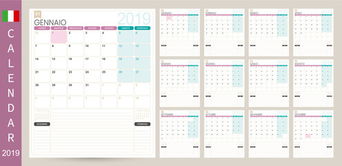 Italian calendar 2019 / Italian calendar planner 2019, week starts on Monday, set of 12 months January - December, simple calendar template, set desk calendar template, vector illustration