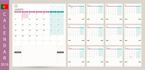 Portuguese calendar 2019 / Portuguese calendar planner 2019, week starts on Monday, set of 12 months January - December, simple calendar template, set desk calendar template, vector illustration