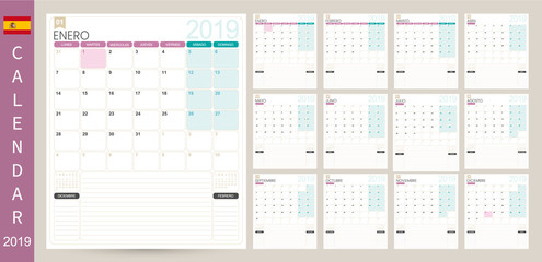 Spanish calendar 2019 / Spanish calendar planner 2019, week starts on Monday, set of 12 months January - December, simple calendar template, set desk calendar template, vector illustration