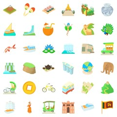Tourist icons set. Cartoon style of 36 tourist vector icons for web isolated on white background