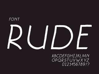 Rude italic font. Vector alphabet