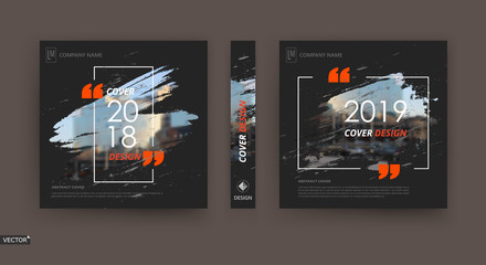 Abstract patch brochure cover design. Black info data banner frame. Techno title sheet model set. Modern vector front page art. Urban city blurb texture. Orange citation figure icon. Ad flyer text Wall mural