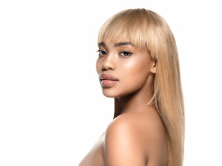 African woman beauty healthy skin with blonde hair isolated