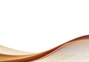 Fotobehang Fractal waves Golden brown fractal wave on white background