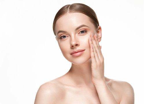Beautiful woman skin healthy cosmetology pure makeup female girl