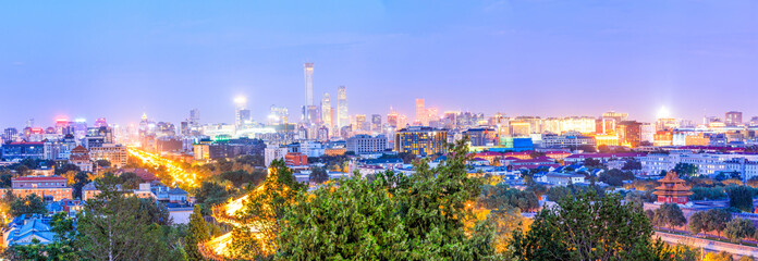 Beautiful city skyline and modern buildings in Beijing at night