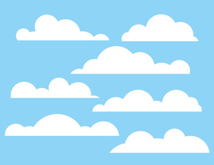 Vector colorful flat style illustration of a fluffy clouds on a background of a blue sky. The midday sky with clouds