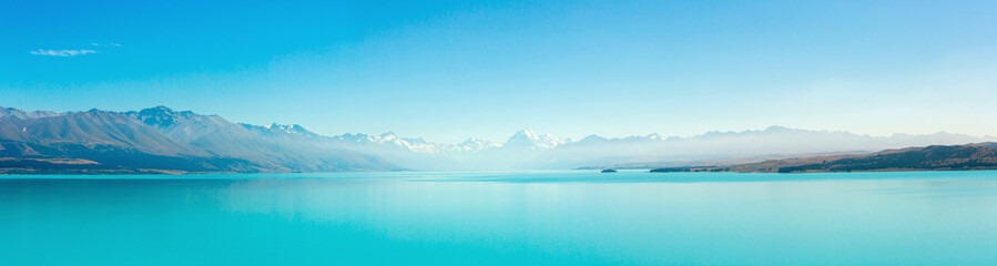 Panoramic at Lake Pukaki and Mt. Cook as a Background Wall mural